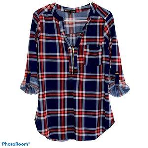 Always Indigo pullover flannel blouse sz XL